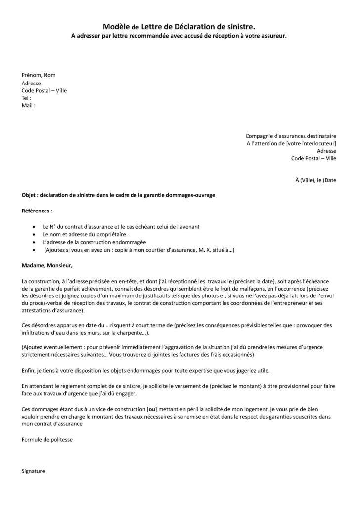 Lettre Dommage Ouvrage Modele Declaration De Sinistre Maxiassur